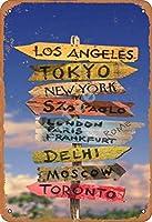 TIBB ロサンゼルス東京ニューヨークサンパウロ レトロなスタイルの鉄板金壁ティンサインリビングプラークポスターノスタルジックなアート装飾8X12インチ