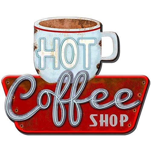 Primus Placa de Pared de Metal para Cocina, cafetería, Comedor, Arte Vintage (Tienda de café Caliente), Talla única