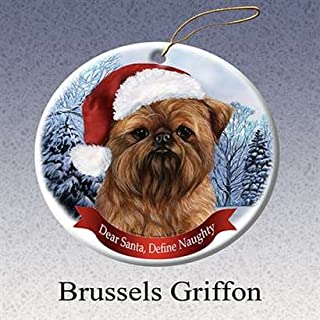 Holiday Pet Gifts Brussel S Griffon Santa Hat Dog Porcelain Christmas Ornament