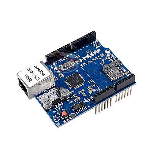 DEVMO W5100 Ethernet Netzwerkschild LAN für Arduino Erweiterungsplatine Modul mit SD-Kartenslot, kompatibel mit Arduino UNO MEGA2560 UNO R3 ATMega 328 MEGA 1280