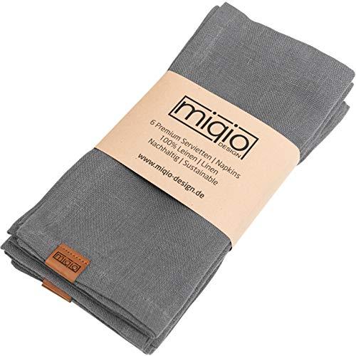 Miqio® Design - Premium Leinenservietten | 100% Leinen aus Frankreich | Marken Label aus echtem Leder | 6er Set Servietten | waschbar bei 60°| Stoffservietten (dunkelgrau)…