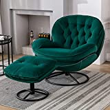 Velvet Swivel Accent Chair with Ottoman Set, Modern Lounge Chair with Footrest, Comfy Armchair with 360 Degree Swiveling for Living Room, Bedroom, Reading Room, Home Office, Metal Base Frame (Green)