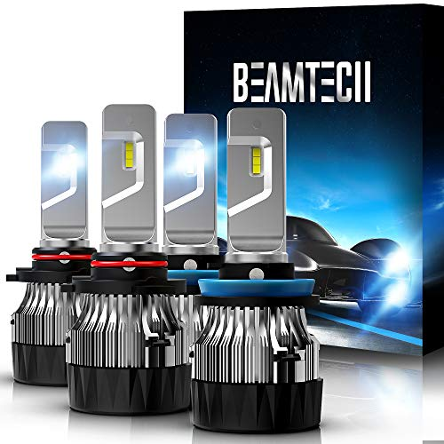 BEAMTECH LED Bulbs,H11 H8 H9+9005 HB3 30mm Heatsink Base CSP Chips 10000 Lumens 6500K Conversion Kit 2 Sets Xenon White Small Size Low Fog Light