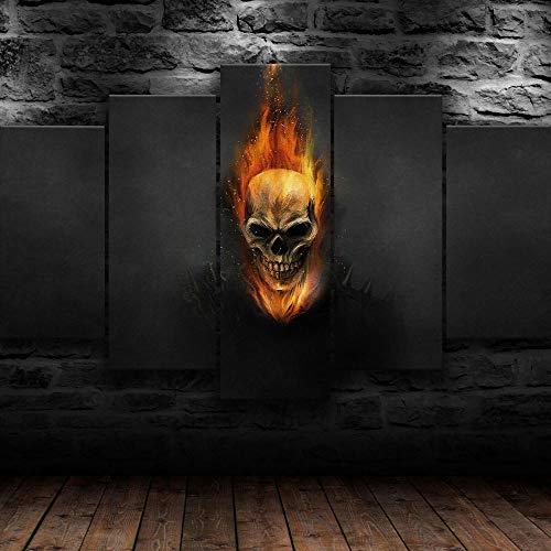 Cuadro En Lienzo 200X100Cm Ghost Rider Fire Skeleton Kids Impresión De 5 Piezas Material Tejido No Tejido Impresión Artística Imagen Gráfica Decor Pared