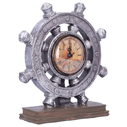 Ornamento de resina, relógio de leme portátil simples feito à mão para cafeteria Sala de estar Sala de trabalho Gabinete decorativo Sala de estudo Escritório Hotel(G155-2 leme de prata)