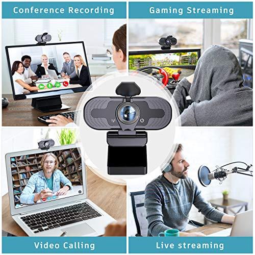 Cámara web con micrófono para computadora portátil, 1080P HD Streaming USB PC PC PC PC Cámara web para videollamadas, conferencias, grabación juegos, Skype, YouTube/Zoom miniatura