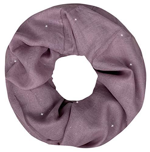 PiriModa Damen Schal Schlauchschal Loopschal Glitzer Rundschal Tuch Viele Farben (One Size, Altrosa)