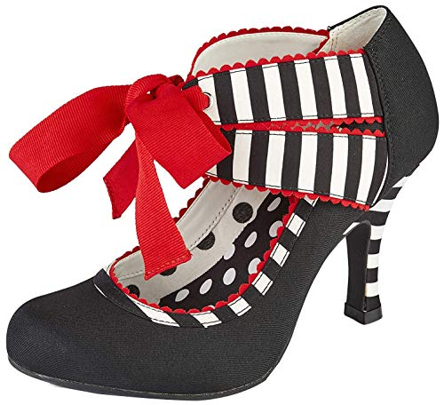 Ruby Shoo Aisha Black Stripe Womens Hi Heels Shoes
