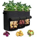 UEIUA 3 PCS 7 Gallon Garden Grow Bags Potato Grow Bag Planting Bags,Vegetables Planter Bags, Layer Premium Breathable Non-Woven Fabric Pot Growing Bags with Handle and Access Flap