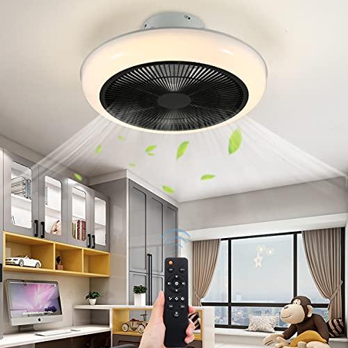 Moderno Ventilador de techo Con Iluminación, LED Luces de techo Habitación infantil Luz del ventilador, 36W Regulable con mando a distancia, 3000K-6500K, Invisible Silencio Ventilador Ø46CM,Negro