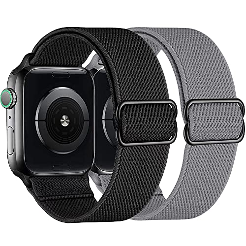 Aussido Watch Straps Compatible with Apple Watch Strap 44mm 42mm 40mm 38mm Adjustable Stretchy Nylon Braided Sports Replacement Band for IWatch Series 6/5/4/3/2/1/SE (42/44mm Black/Gray)