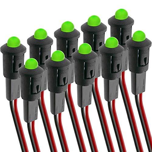 BeMatik - Pilot LED Licht 8mm 12VDC Leuchtmelder grün Farbe 10-Pack