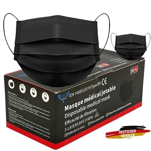 50 Stück Medizinische Masken Schwarz OP Masken Schwarz CE Zertifiziert EN14683 TYP IIR BFE ≥ 98% Schwarze Gesichtsmaske Medizinischer Mundschutz schwarz Mund Nasenschutz schwarz