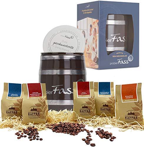 Kaffee Geschenk Entdeckungsreise 5 verschiedener Anbauländer 5 x 80g ganze Bohne in einem originellen Fass