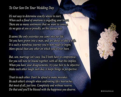 To Our Son On Your Wedding Day - Poem Print (8x10) - Beautiful Groom Wedding Gift from Parents