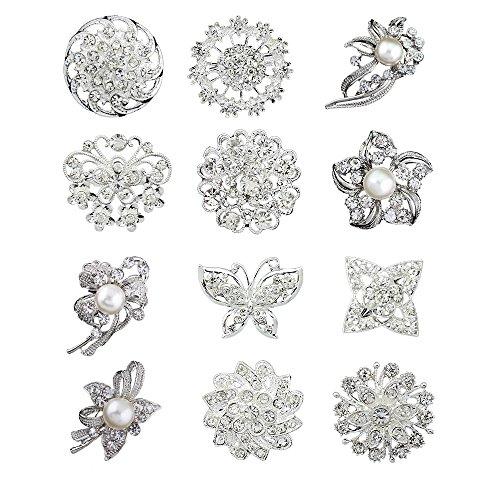 12pcs lot Silver Plated Crystal Rhinestone Wedding brooches pins