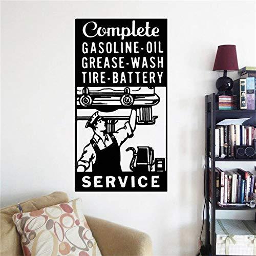 Tankstation logo muur sticker garage teken muur sticker mechanische monteur cadeau decoratie autoservice muurschildering vinyl <> 58x110cm