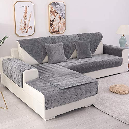 Best TEWENE Sofa Cover, Velvet Couch Cover Anti-Slip Sectional Couch Covers Sofa Slipcover for Dogs Cats