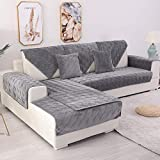 TEWENE Sofa Cover, Velvet Couch Cover Anti-Slip Sectional Couch Covers Sofa Slipcover for Dogs Cats Pet Love Seat Recliner Armrest Backrest Cover Dark Grey 36''x94''(Only 1 Piece/Not All Set)