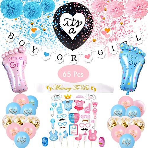 Amycute 66 Stück Gender Reveal Party Supplies Baby Shower Dekoration Boy or Girl Fahne Baby Reveal Luftballons Coriandoli Foto Taufe Kinder
