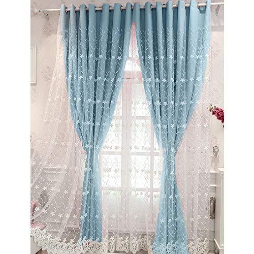 SearchI Visillo Cortina Azul Azul Opaca Paneles Termicos Aislantes Calor Frio para Dormitorio Habitacion Sala,Rayas Azul Bordadas, Diseño de cómoda y Liviana,1 Unidad,140x245cm