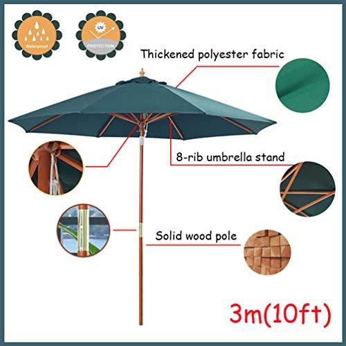 CYGG 3m Runder Garten-Sonnenschirm,sonnenschirme Für Terrassen- / Strand- / Poolschirme Im Freien,hartholzscheibe Betrieben, Grün