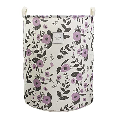 Mziart Collapsible Laundry Basket, Floral Printing Large Laundry Hamper for Baby Girls Kids Toys Clothes Organizer Foldable Storage Bin Waterproof Canvas Nursery Storage Basket with Handles (Purple)