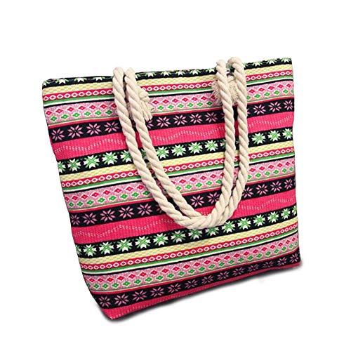 Geagodelia Damen Canvas Handtasche Strandtasche Mädchen Moderne Große Schultertasche Henkeltasche für Outdoor Strand City FB19102 (Ethno Stil-Rot)