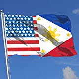 JQDAPaflag American Philippines Flag Breeze Flag 3 X 5-100% Polyester Single Layer Translucent Flags 90 X 150CM - Banner 3' X 5' Ft