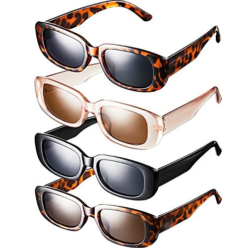 4 pares de gafas de sol rectangulares retro a la moda retro rectángulo gafas de sol para mujeres y hombres vintage pequeñas cuadradas gafas de sol protección UV