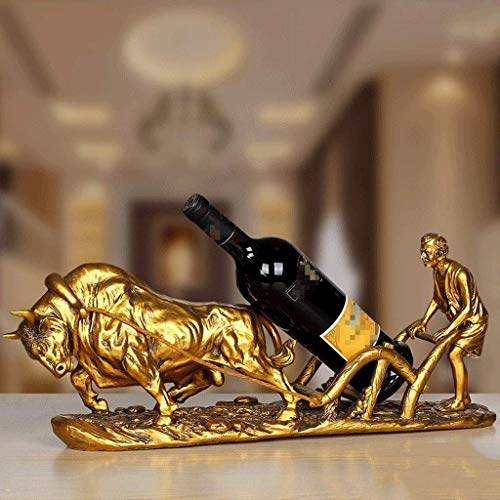 JSMY Escultura Accesorios para gabinetes de Vino Retro Europeos Estantes para vinos Decoración Sala de Estar Hogar Personalidad Creativa Artesanía de Ganado Decoraciones de Escritorio Estatuas(Co