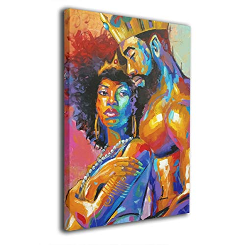 "King African American Lovers Couple 8""x12"" Canvas Painting Wall Decor Art Poster For Living Room Bedroom Bathroom"