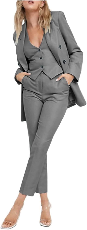 LIBODU Women Pantsuits for Wedding Blazer&Pants Vest Set Tuxedos Party Wear Suits