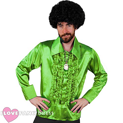 Ik hou van Fancy Jurk ILFD4603L Neon Groen Disco Shirt Mens Deluxe Disco Ruffel Shirt 1970's Disco Koning Fancy jurk L