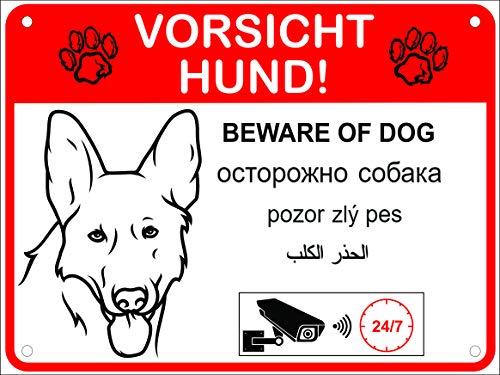 LUGUNO Hundeschilder Warnung 5 Sprachen Vorsicht Hund Schild Alu (20x15cm - Schäferhund)