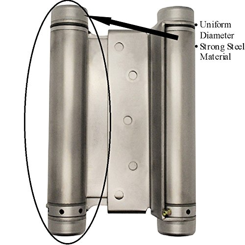 6' Double Action Spring Hinge for Saloon or Cafe Doors (Satin Chrome)