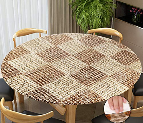 Rally Home Goods Indoor Outdoor Patio Round Fitted Vinyl Tablecloth, Flannel Backing, Elastic Edge, Waterproof Wipeable Plastic Cover, Wicker Pattern for 5-Seat Table of 36-42'' Diameter