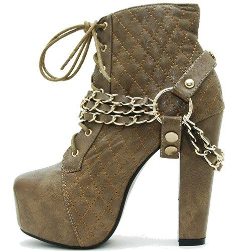 Juliet Shoes© Plateau Stiefeletten im Blogger Style (37, Khaki)