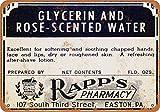 Rapp's Glicerina y Rose-Perfumado Agua Vintage Look Metal Cartel Decoración del Hogar 20x30 cm
