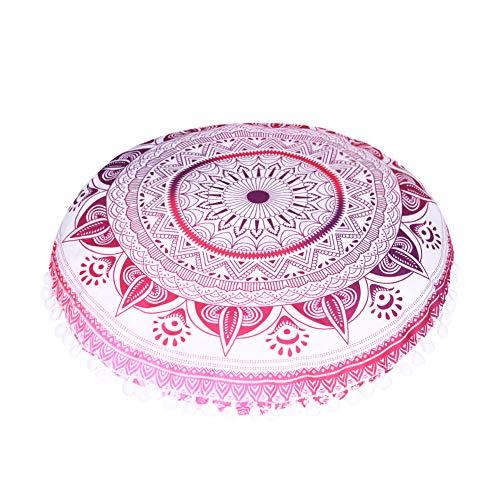 QCWN - Funda de almohada de mandala hippie Mandala para suelo, funda de cojín, funda de puf redonda bohemia para decoración de suelo