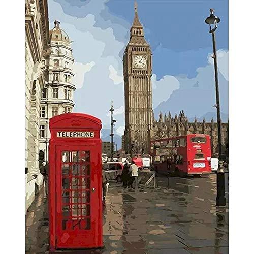 Paisaje de la ciudad pintura dibujar pintura acrílica por número en lienzo bricolaje y color de imagen por número decoración del hogar arte W3 30x40cm