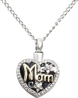 bromrefulgenc Necklace for Women,Mom Love Heart Shape Memorial Urn Necklace for Ashes Cremation Pendant Keepsake Silver