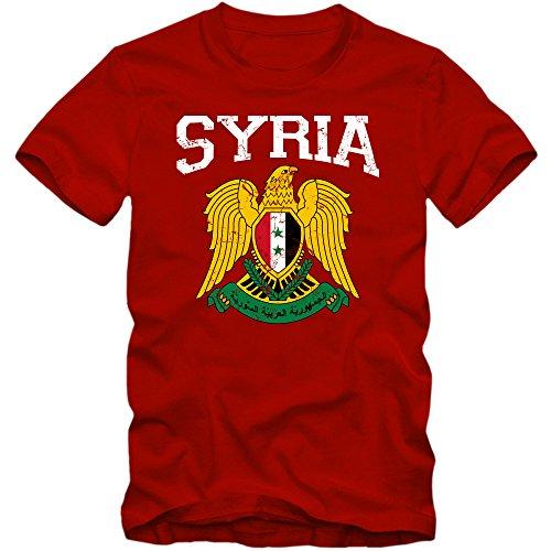 Preisvergleich Produktbild Syrien Wappen T-Shirt / Suriyya / Republik Syrien / Damaskus / Herrenshirt,  Farbe:Rot (Red L190);Größe:S