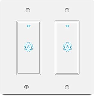 Smart Light Switch&Alexa Smart Double Switch& 2.4Ghz WIFI Light Switch With Timer and Remote Control,Schedule,Neutral Wire Needed,Works with Alexa, Google Assistant and IFTTT,Single Pole (2gang)