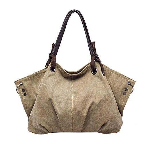 Tininna molteplici usi grande capacità borsa a tracolla per donne ragazze casual Grocery shopping borse di tela Tote Bags Borse shopper Deep Khaki