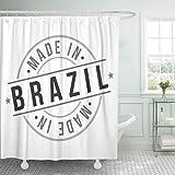 JOOCAR Design Duschvorhang, Amerika Made in Brasilien, Stempel-Symbol, authentisches Abzeichen, Country, wasserdichter Stoff, Badezimmerdekor-Set mit Haken