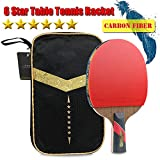 Professional Table Tennis Racket 6 Star Wenge Wood & Carbon Fiber Blade Sticky Pimples-in Rubber Super Powerful Ping Pong Racket Bat Paddle Portable Storage Case ITTF Approved (Penhold Type)