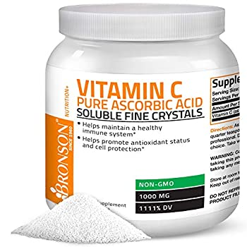 Vitamin C Powder Pure Ascorbic Acid Soluble Fine Non GMO Crystals – Promotes Healthy Immune System and Cell Protection – Powerful Antioxidant - 1 Kilogram  2.2 Lbs