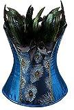 Beverla Damen Gotik Bustier Vintage Vollbrust Korsage Corsage Top Blütenstickerei Burlesque Pfau...