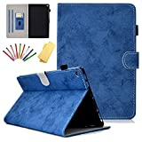 Uliking Stand Case for Amazon Kindle 10.1' Fire HD 10 (9th/7th/5th Generation, 2019/2017/2015) with Pencil Holder Cards Slots Smart PU Leather Auto Sleep/Wake Cover [Multi-Angle Viewing], Blue Marble